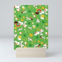 St. Patrick's Day Unicorn Pattern Mini Art Print