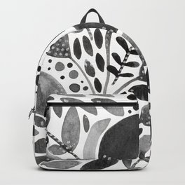 Watercolor branches and leaves - black and white Backpack