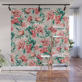 Peonies with lace effect Wall Mural