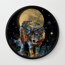 floral animals wolf and stars Wall Clock