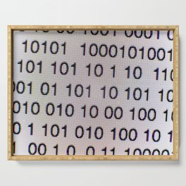 Binary code on a computer screen Serving Tray