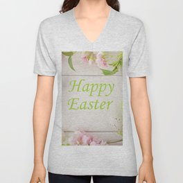Happy Easter Farmhouse Style Eggs and Whitewashed Boards with Flowers Unisex V-Neck