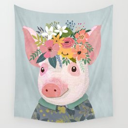Pig with floral crown, farm animal Wall Tapestry