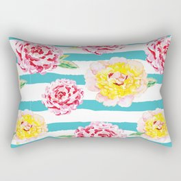 Peonies on the striped background Rectangular Pillow