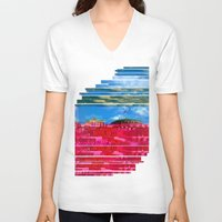 oslo V-neck T-shirts featuring Beautifully Glitched Oslo, Norway by GlitchedGirl