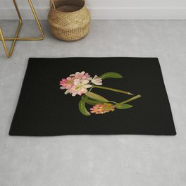 Rhododendron Maximum Mary Delany Vintage Botanical Paper Flower Collage Rug