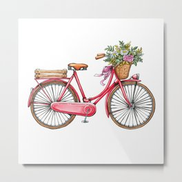 Cute watercolor vintage bike print. Metal Print