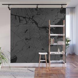 Amsterdam Gray on Black Street Map Wall Mural