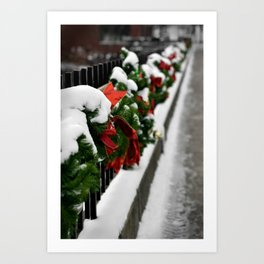 Snowy Evergreen Holiday Decorations Art Print