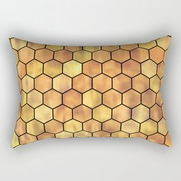 Golden Honeycomb Pattern Rectangular Pillow