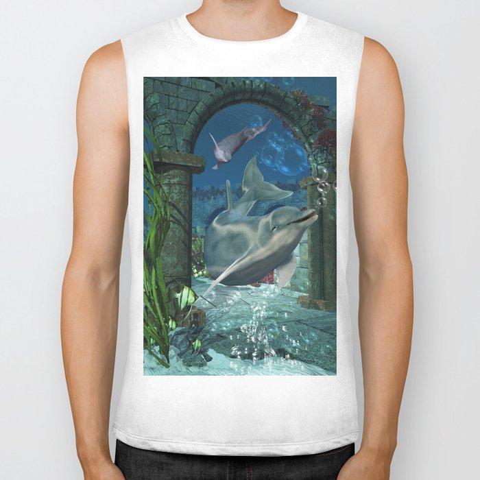 Wonderful dolphin Biker Tank
