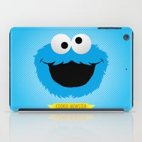 cookie monster iPad Cases featuring C FOR COOKIE MONSTER by Emils Blums