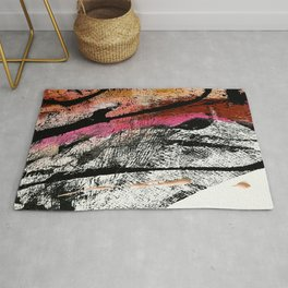 Motivation [2] : a colorful, vibrant abstract piece in pink red, gold, black and white Rug