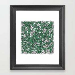 Green and White Camo Framed Art Print