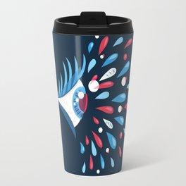 Dark Psychedelic Eye With Colorful Tears Travel Mug