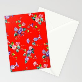 morning glories on red Stationery Cards