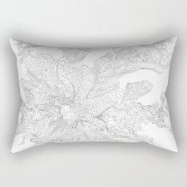 Mount Rainier, WA Contour Map In White Rectangular Pillow