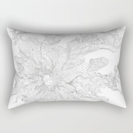 Mount Rainier, WA Contour Map In White Rectangular Pillow