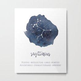Sagittarius Constellation and Zodiac Traits, Star Sign Metal Print