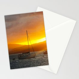 Norman Island Sunset - Sailboats at Sunset Stationery Cards