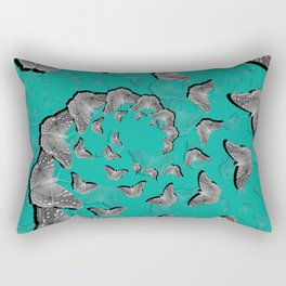 A swirl of gray butterflies on teal background Rectangular Pillow