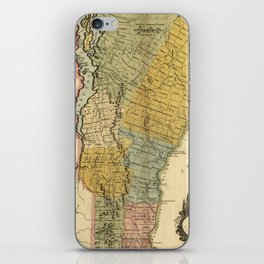 Vintage Map of Vermont (1814) iPhone Skin