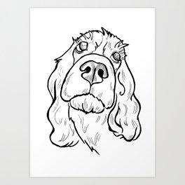 Thoughtful spaniel Art Print