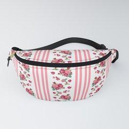Vintage Floral Stripes - Coral Rose Fanny Pack