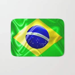 Brazil Flag Waving Silk Fabric Bath Mat