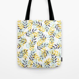 Leaf Party - Yellow/Blue - Block Print Pattern Tote Bag