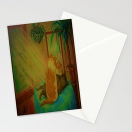 Two kittens in window sunlight, Stationery Cards