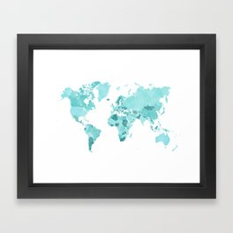 Distressed world map in aquamarine and teal Framed Art Print