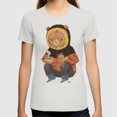 noodle bear Womens Fitted Tee Silver MEDIUM