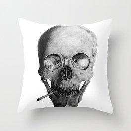 Smoking Skull Throw Pillow