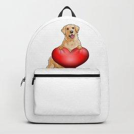 Valentines Golden Retreiver Backpack