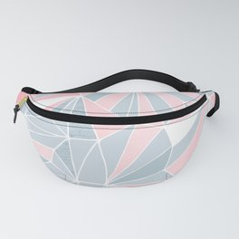 Cool blue/grey and pink geometric prism pattern Fanny Pack