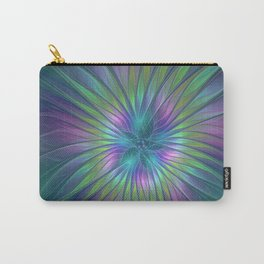 Colorful and luminous Fantasy Flower, Abstract Fractal Art Carry-All Pouch