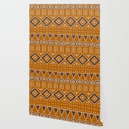 Mudcloth Style 2 in Burnt Orange and Brown Wallpaper