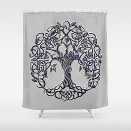 Tree of Life Silver Shower Curtain