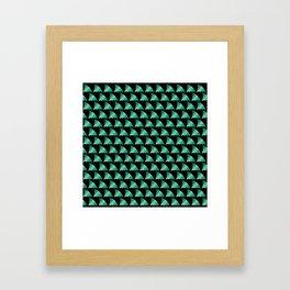 Green shark fin pattern Framed Art Print