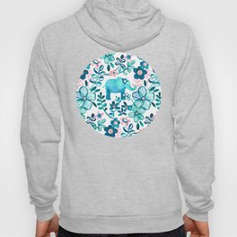Dusty Pink, White and Teal Elephant and Floral Watercolor Pattern Hoody