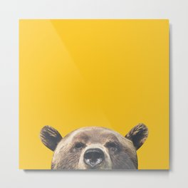 Bear - Yellow Metal Print