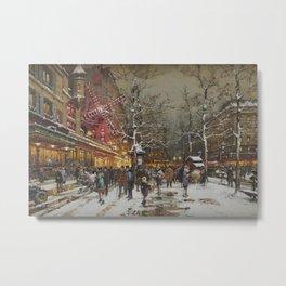 Le Moulin Caberet Sous la Neige, Paris, France by Eugene Galien Laloue Metal Print
