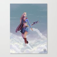 supergirl Canvas Prints featuring Supergirl by Edouard Relou