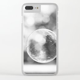 Black and White Bubble Photography, Grey Laundry Art, Gray Bathroom Decor Bubbles Laundry Room Photo Clear iPhone Case