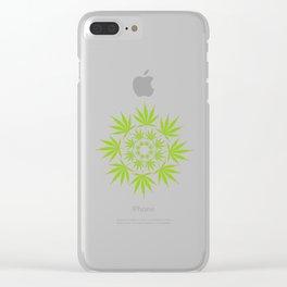 Cannabis Leaf Circle (White) Clear iPhone Case