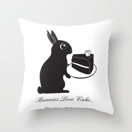 Bunnies Love Cake, Bunny Illustration, cake lovers, animal lover gift Throw Pillow