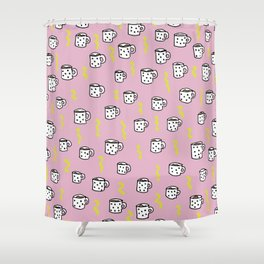Ultimate coffee addicts good morning illustration pattern Shower Curtain