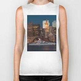 Boston skyline and cruise Biker Tank