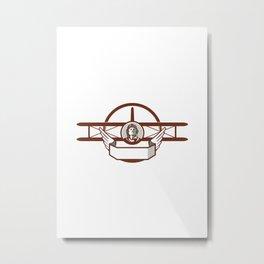 World War 1 Pilot Airman Spad Biplane Circle Retro Metal Print
